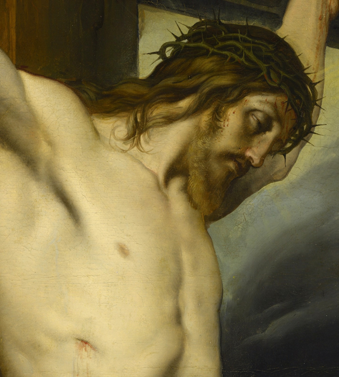 Francesco Ayets. Crucifixion with Mary Magdalene. Fragment. Christ