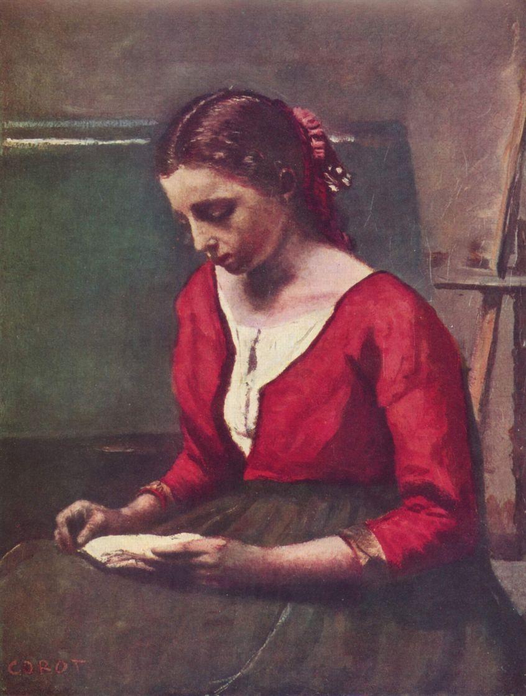 Камиль Коро. Читающая девушка в красной кофте