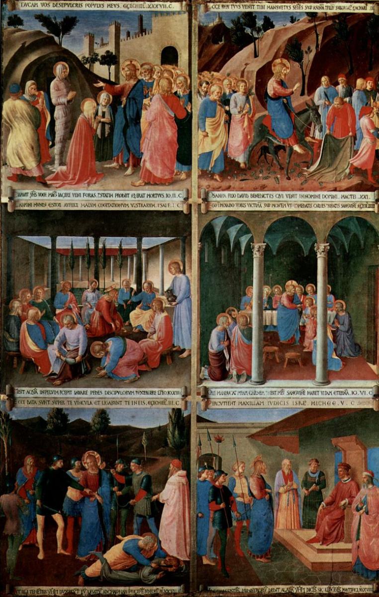 Фра Беато Анджелико. Цикл сцен из жизни Христа для шкафа для хранения серебряной посуды, ряд сцен