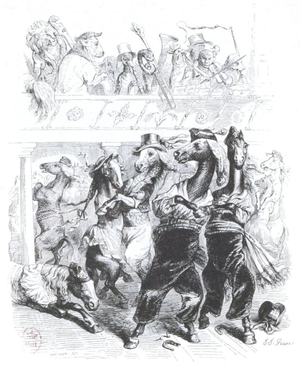 """Жан Иньяс Изидор (Жерар) Гранвиль. Галоп был роскошным!.. """"Сцены общественной и частной жизни животных"""""""