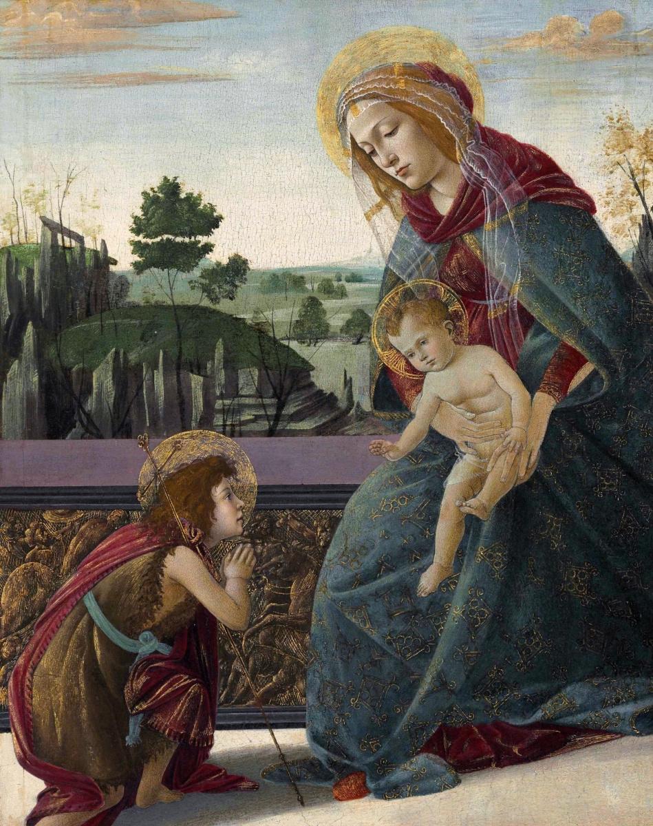 Сандро Боттичелли. Мадонна с младенцем и юным Иоанном Крестителем