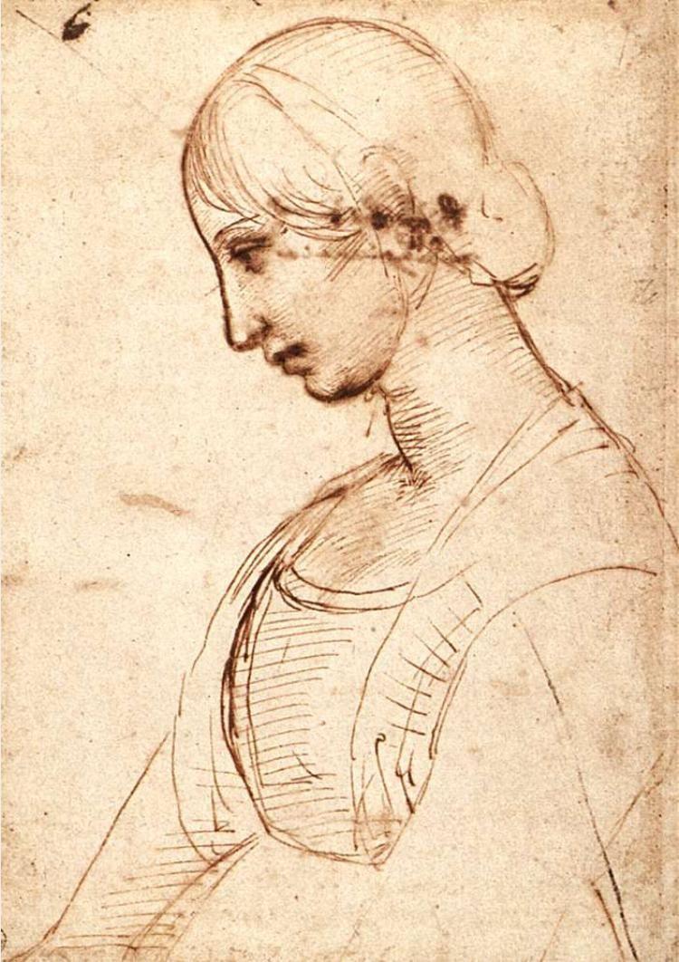 Рафаэль Санти. Голова молодой женщины в профиль
