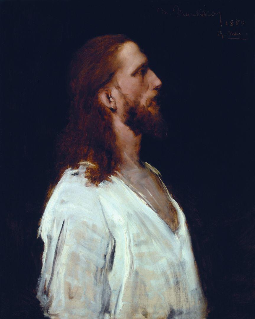 Михай Либ Мункачи. Портрет мужчины в белом. Эскиз для изображения Христа