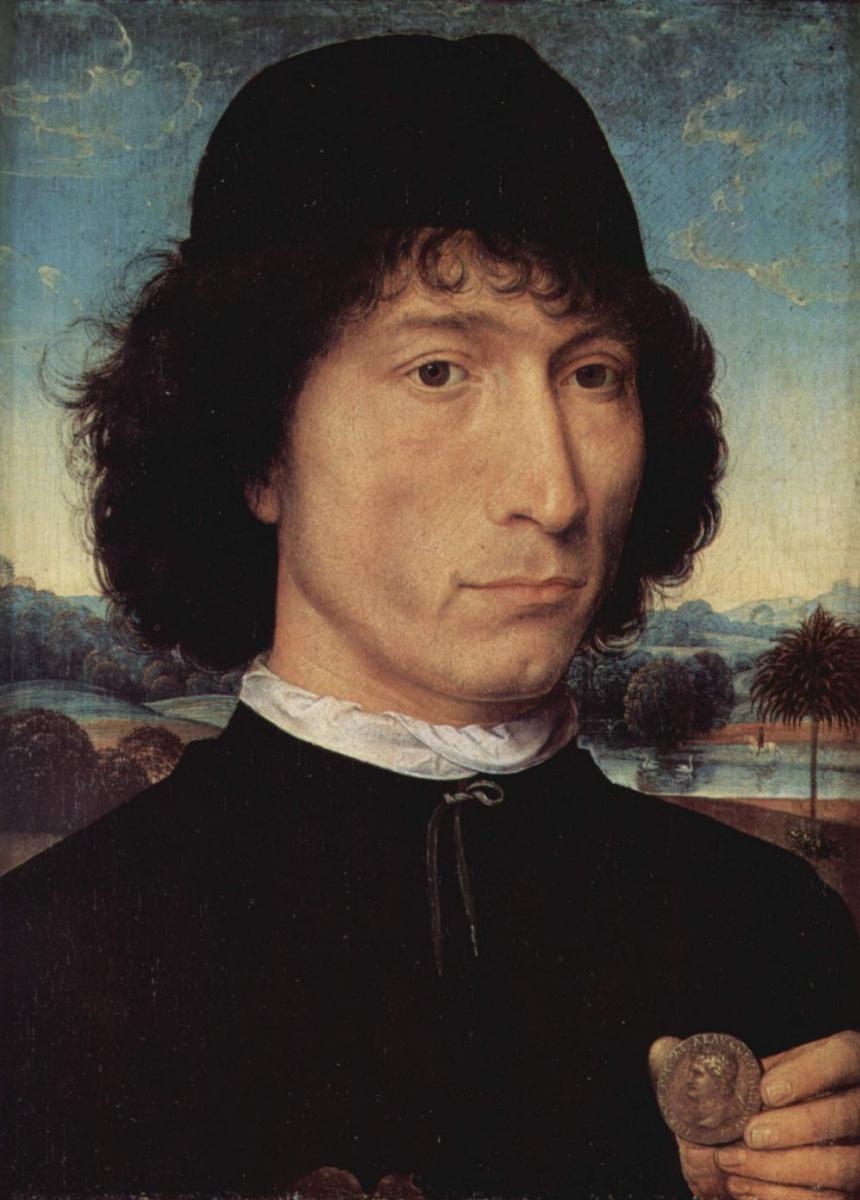 Ганс Мемлинг. Портрет мужчины со старинной монетой