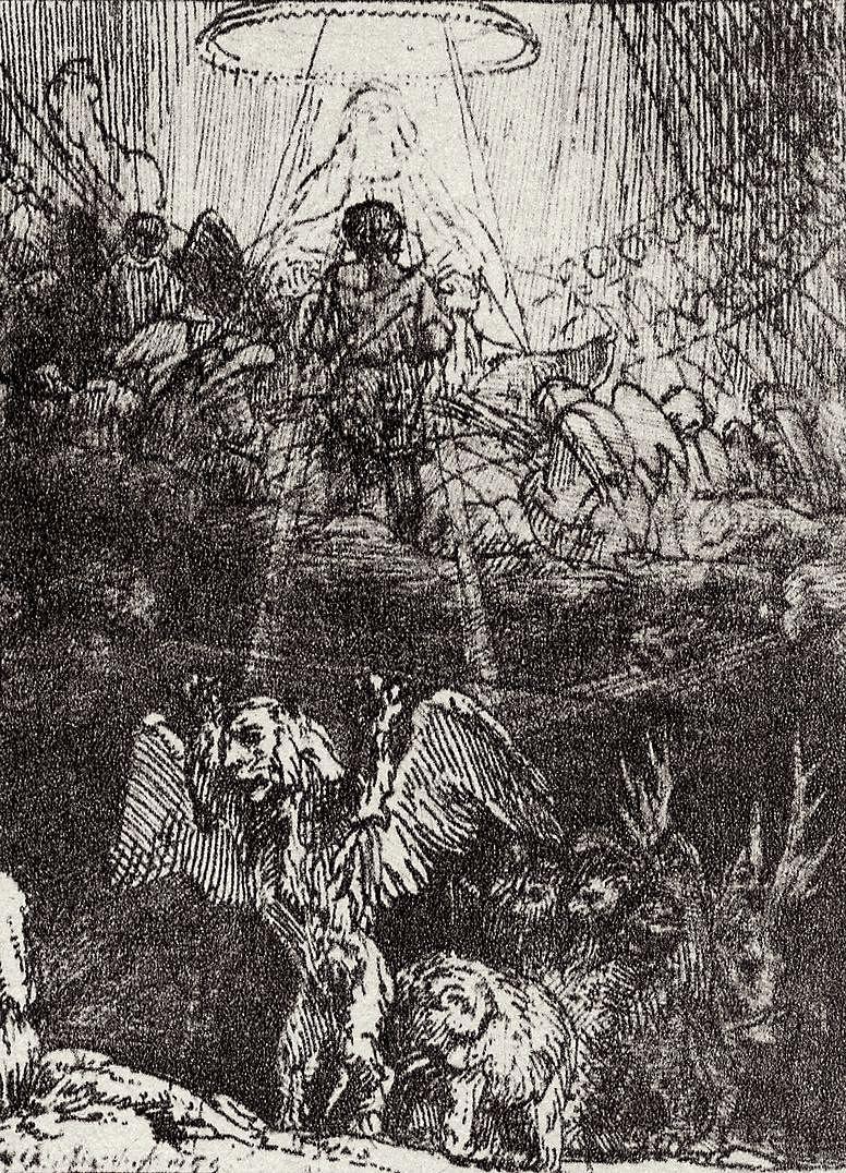 Рембрандт Ван Рейн. Иллюстрация к Славному камню Менассе бен Израэля, Видение Даниила