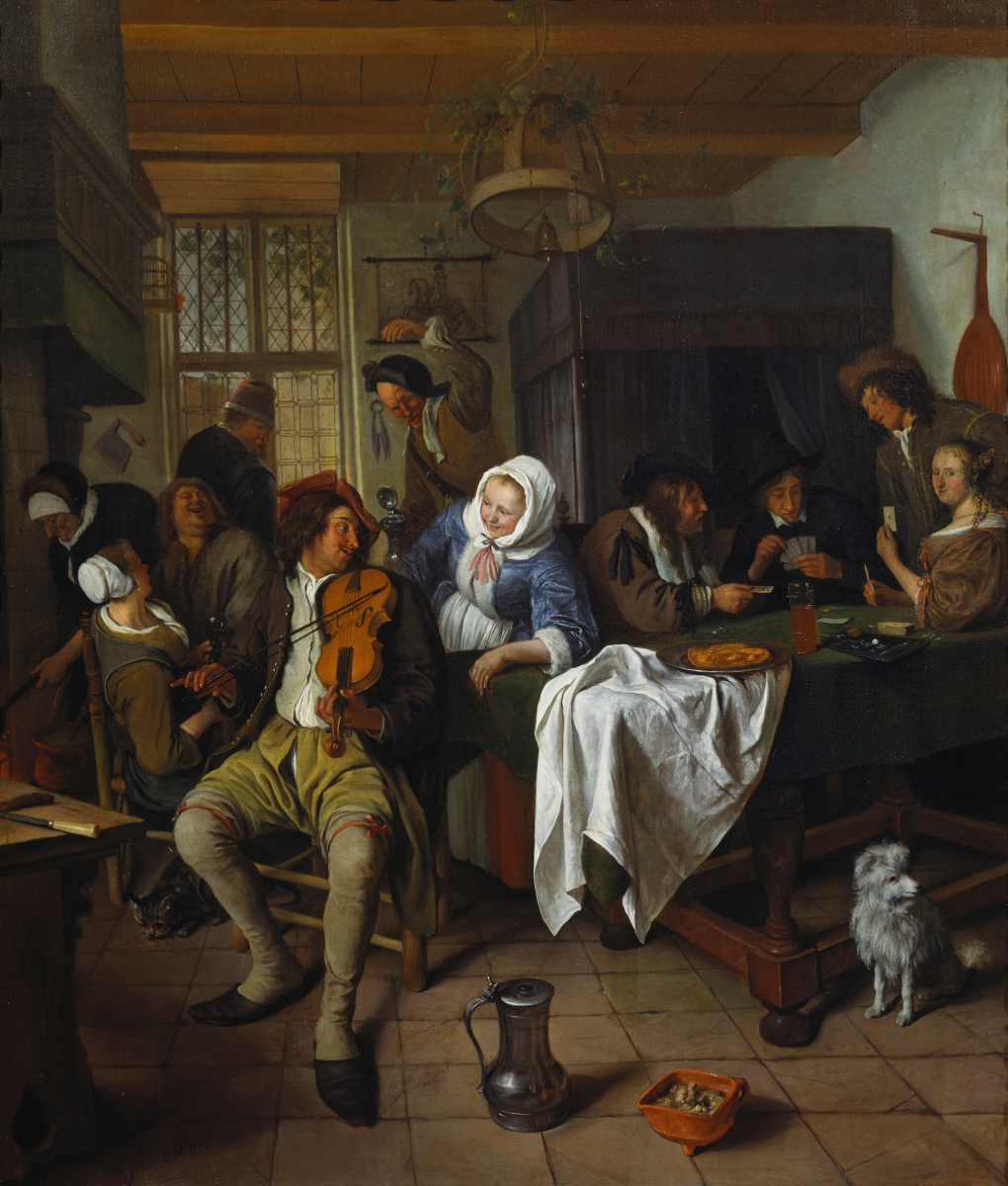 Jan Steen. Interior of a tavern with card players and a violinist