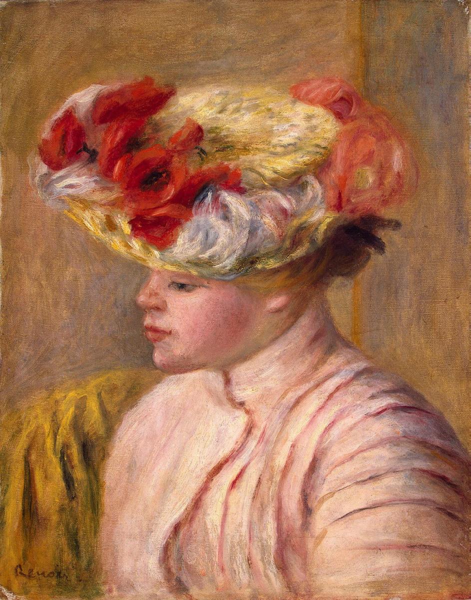 Пьер Огюст Ренуар. Молодая женщина в шляпе с цветами