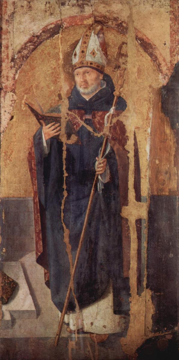 Антонелло да Мессина. Полиптих св. Григория, правая доска, св. Бенедикт