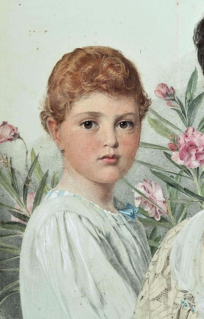Энтони Фредерик Огастас Сэндис. Портрет матери с двумя детьми. Фрагмент II