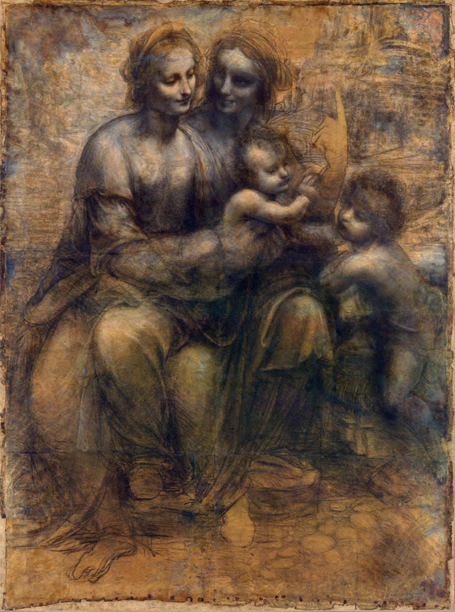 Leonardo da Vinci. Madonna and child with St. Anne and John the Baptist