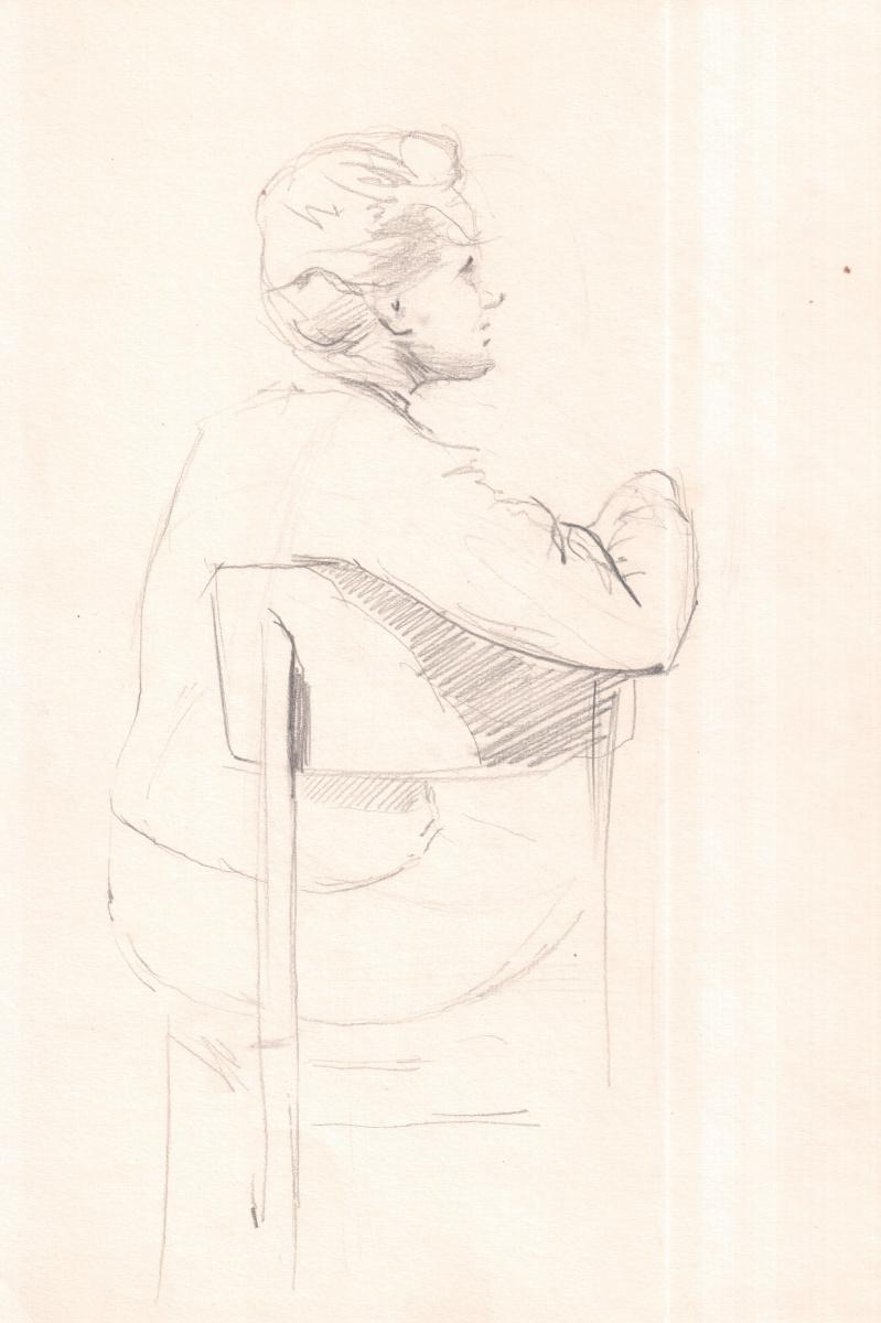 Аркадий Павлович Лаптев. Эскиз пожилой женщины