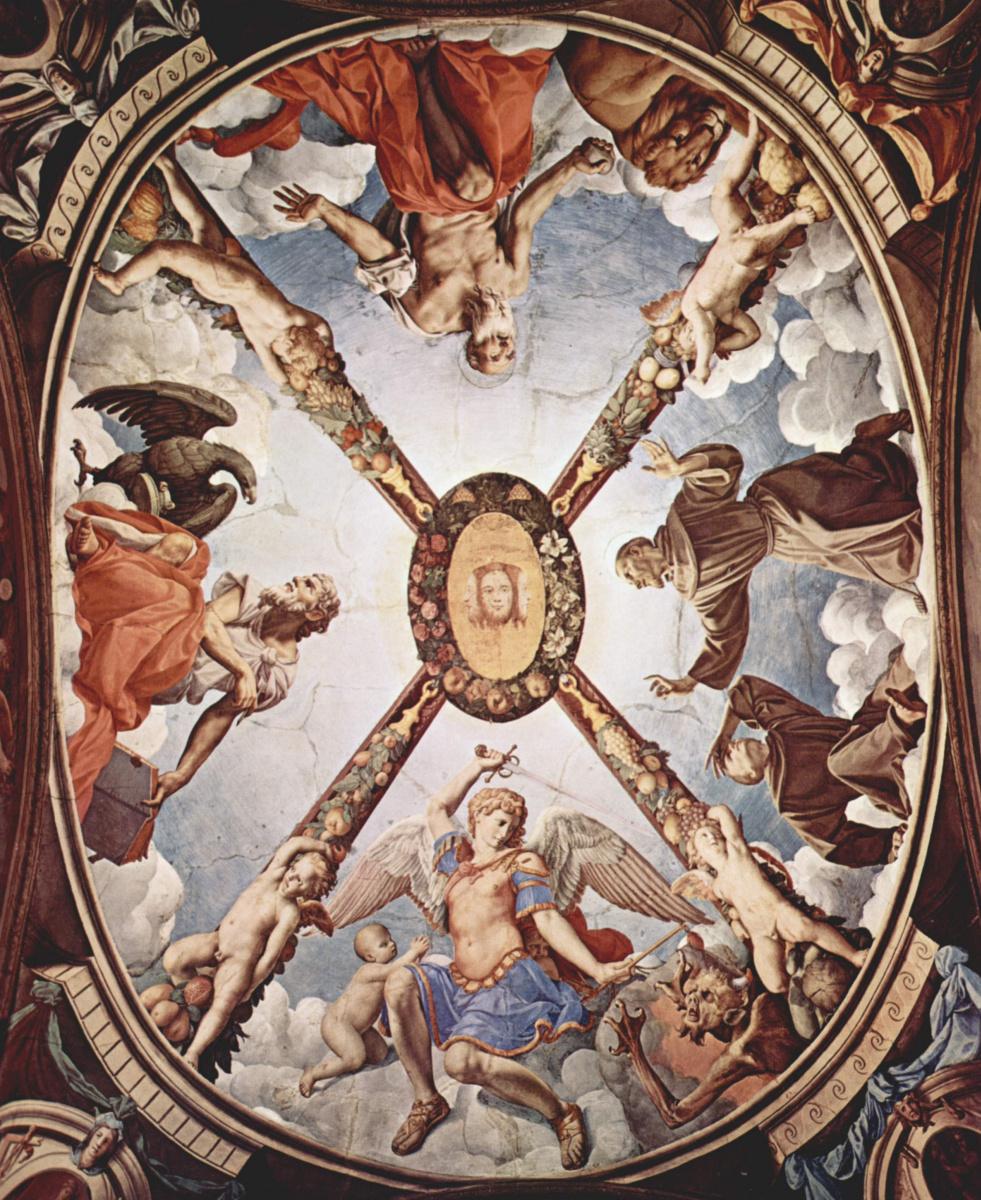 Аньоло Бронзино. Фрески капеллы Элеоноры Толедской в Палаццо Веккио во Флоренции, роспись потолка, в центре: Троица