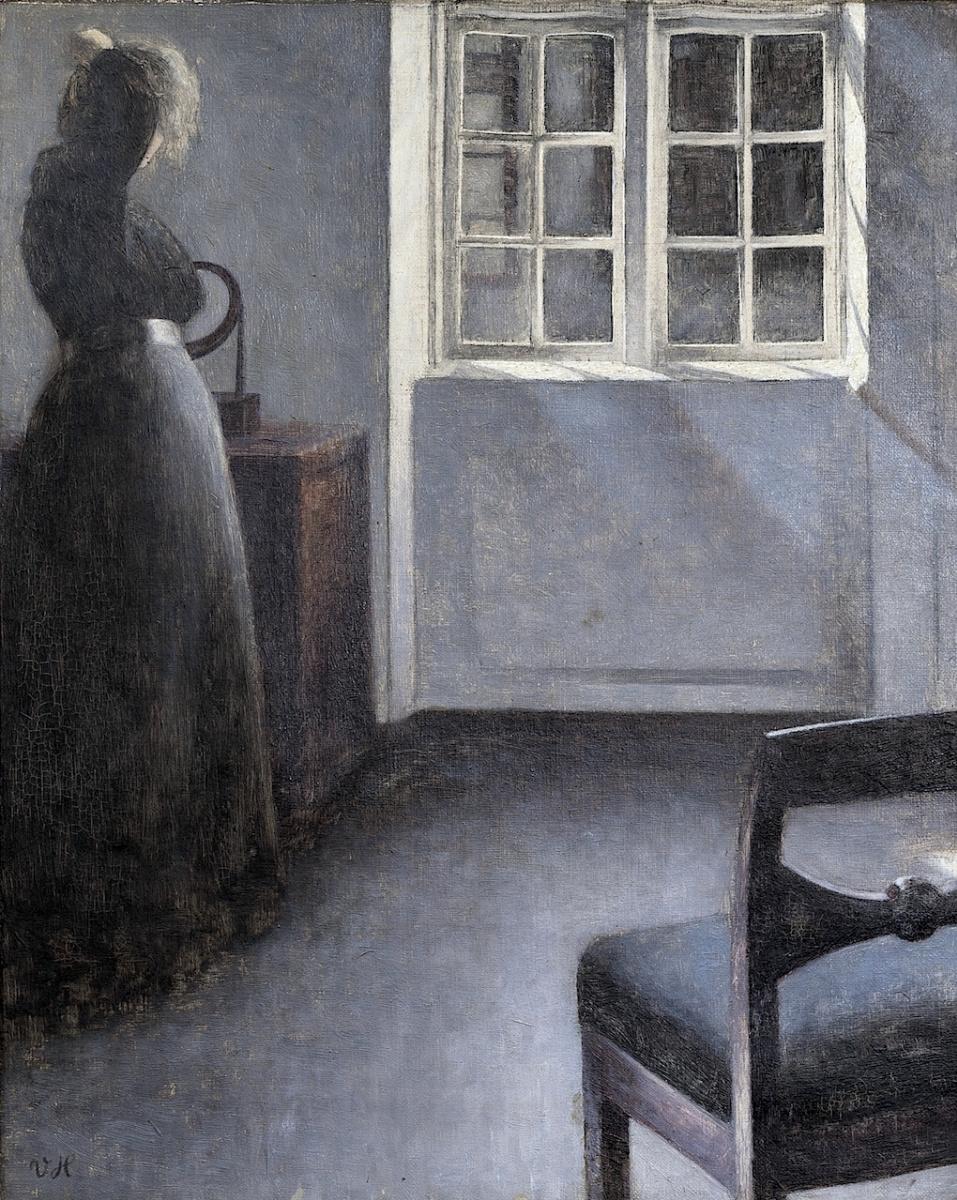 Вильгельм Хаммерсхёй. Женщина перед зеркалом. Страндгед, 30