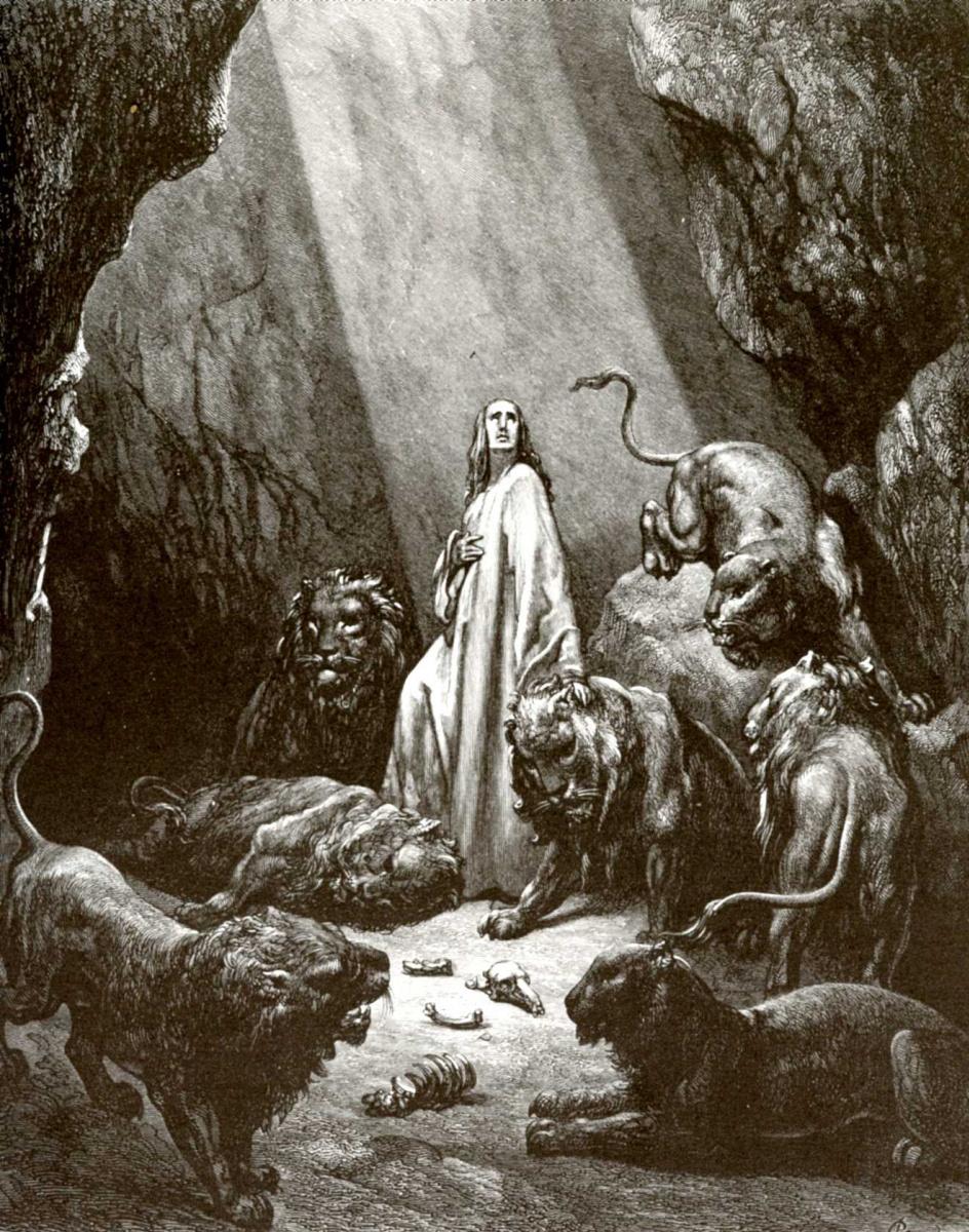 Поль Гюстав Доре. Иллюстрация к Библии: пророк Даниил во рву львином