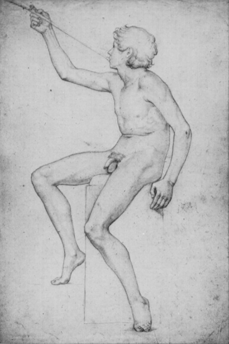 Фердинанд Оливье. Этюд сидящего обнаженного юноши с камышом