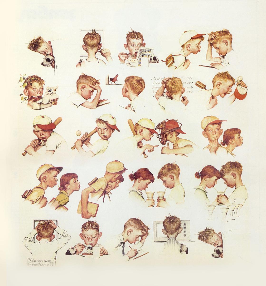 """Норман Роквелл. Один день из жизни маленького мальчика. Обложка журнала """"The Saturday Evening Post"""" (24 мая 1952 года)"""