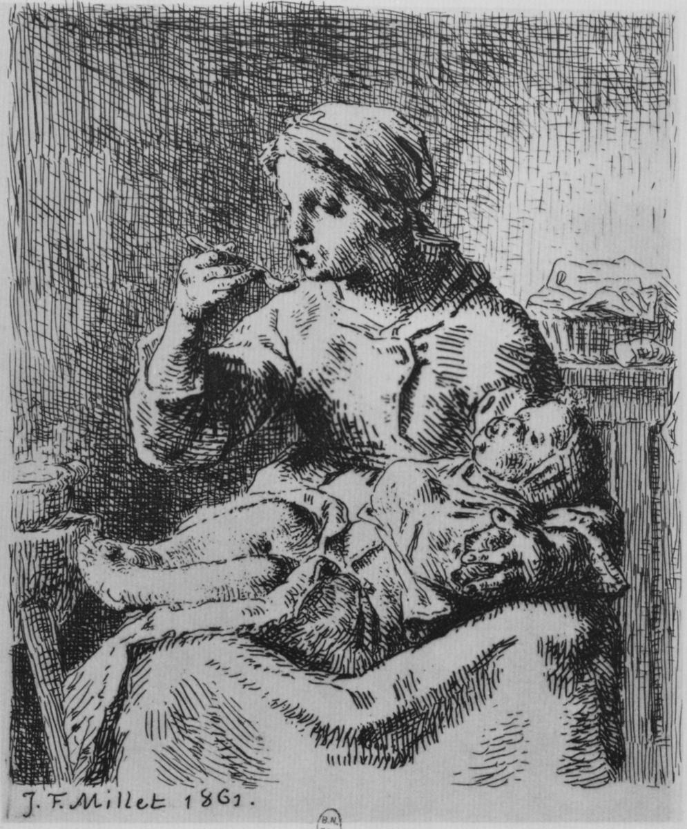 Жан-Франсуа Милле. Каша. Женщина, кормящая ребенка