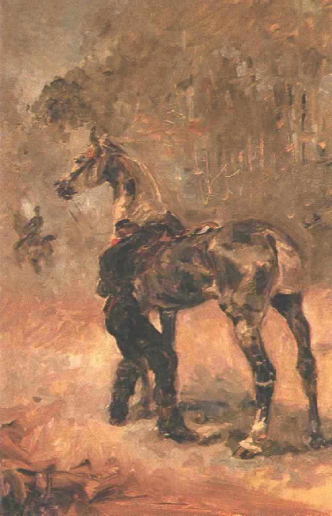 Анри де Тулуз-Лотрек. Артиллерист седлающий лошадь