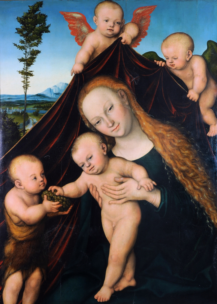 Lucas Cranach the Younger. Madonna and child with young John the Baptist. 1534
