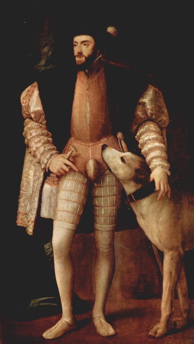 Тициан Вечеллио. Портрет императора Карла V с собакой