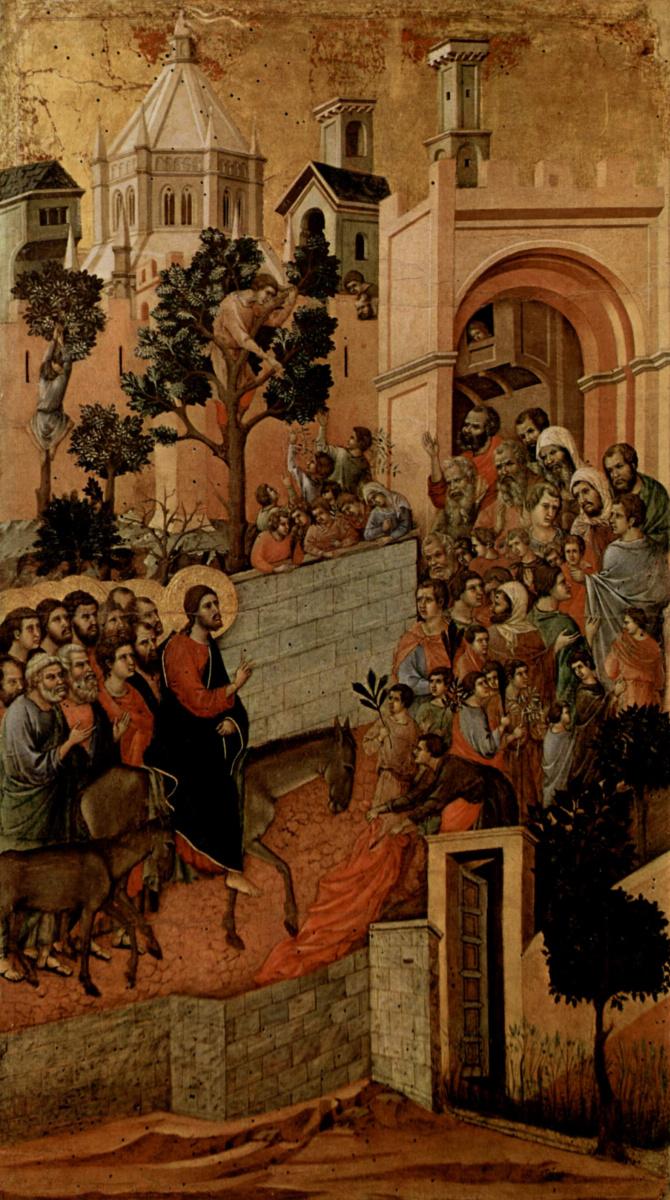Дуччо ди Буонинсенья. Маэста, алтарь сиенского кафедрального собора, оборотная сторона, Регистр со сценами Страстей Христовых, Вход Господень в Иеруса
