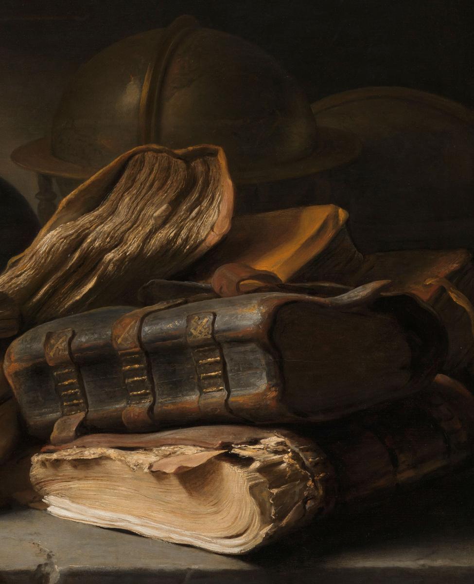 Ян Ливенс. Натюрморт с книгами. Фрагмент. Книги и глобус