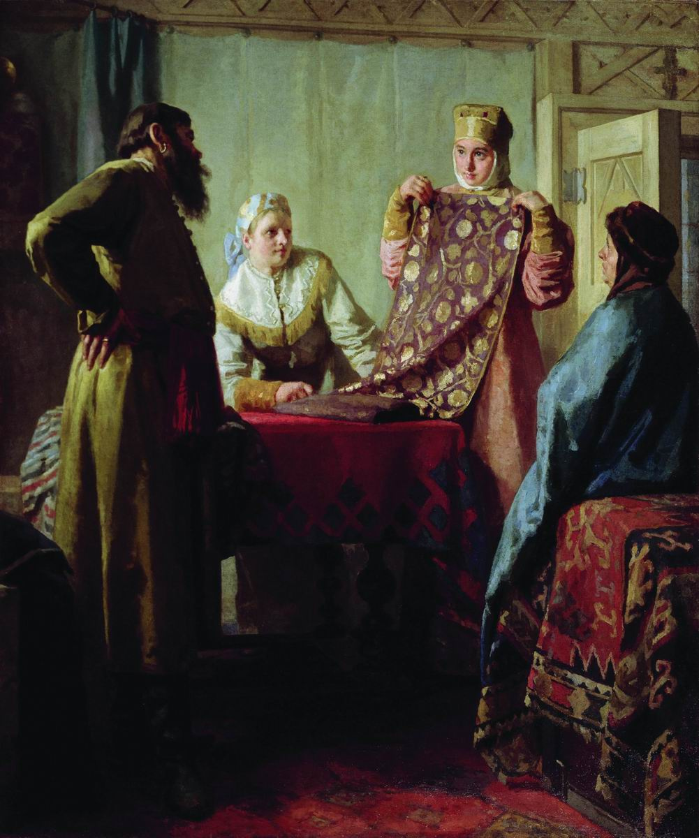 Nikolai Vasilyevich Nevrev. Household scene of the XVII century (Merchant and commodity.) Early 1890s