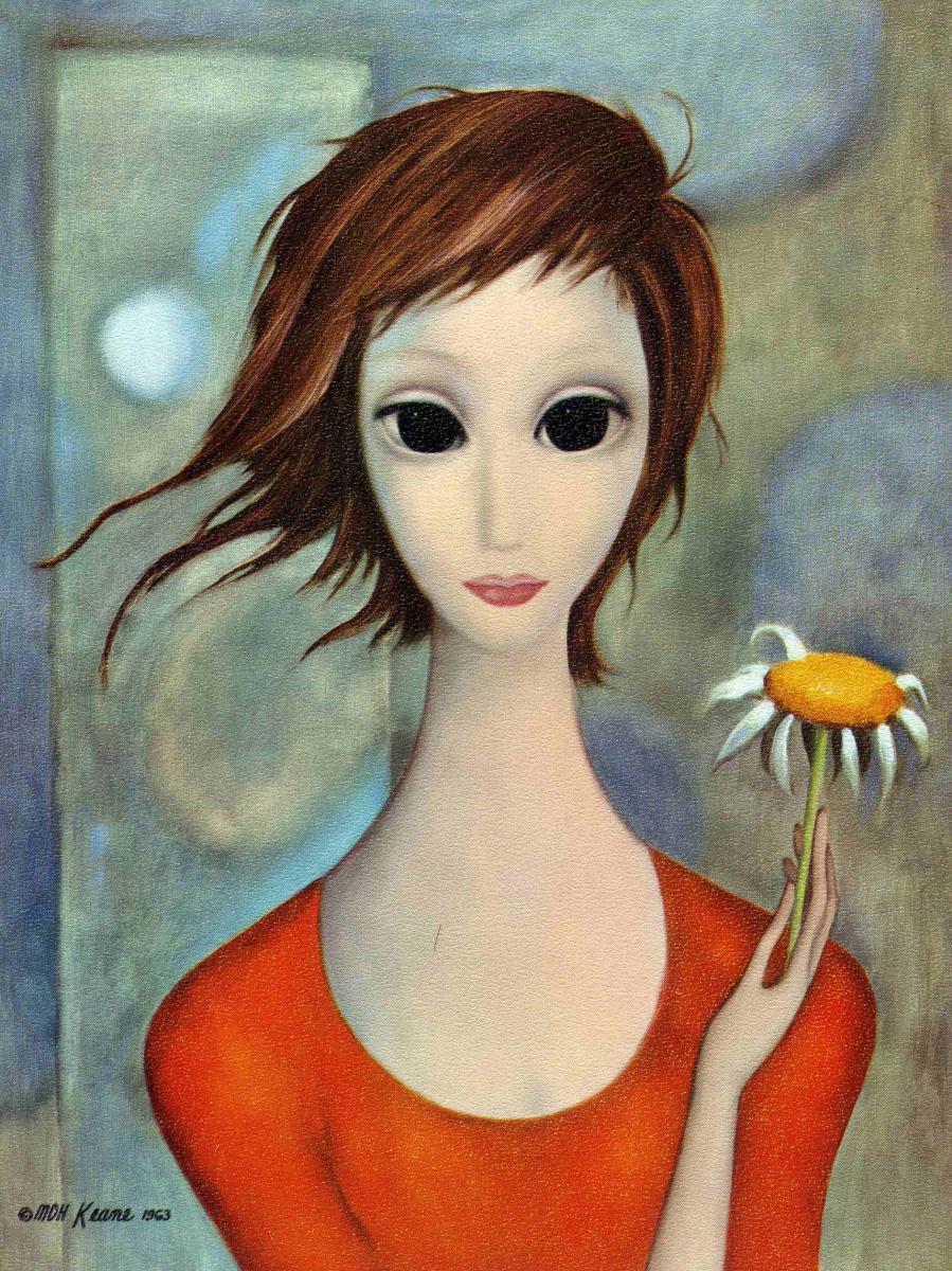 Маргарет Кин. Девушка в красном платье с ромашкой
