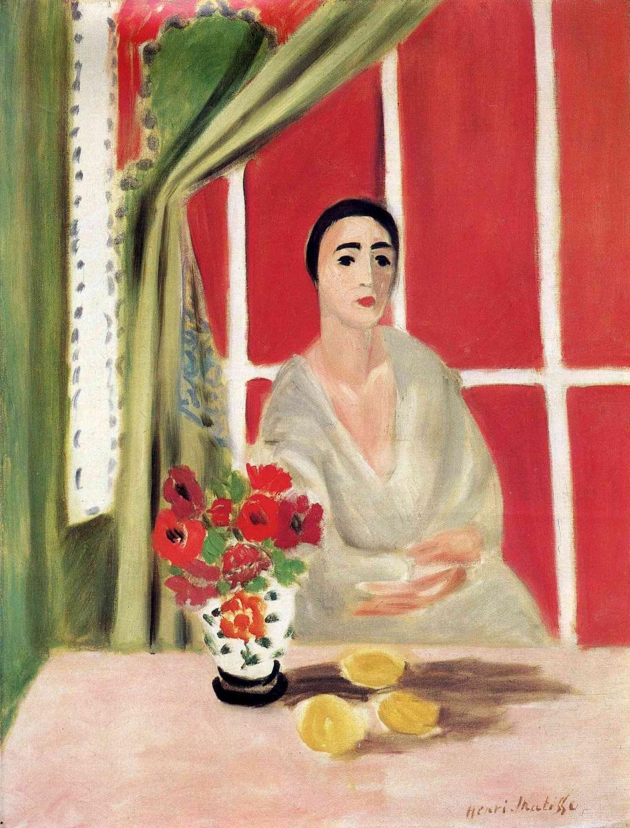Анри Матисс. Женщина за столом с вазой