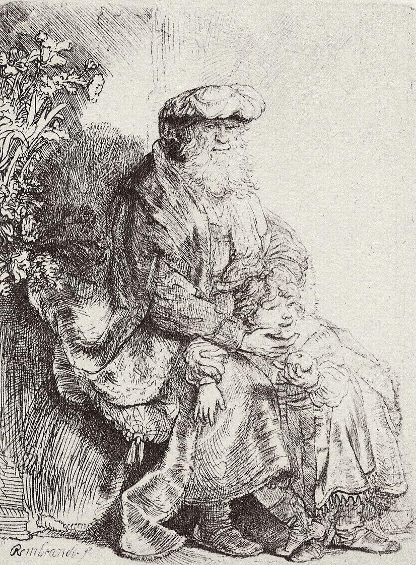 Рембрандт Ван Рейн. Авраам, ласкающий Исаака