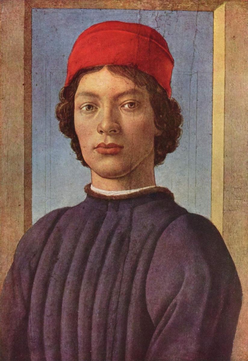 Сандро Боттичелли. Портрет юноши в красной шапочке