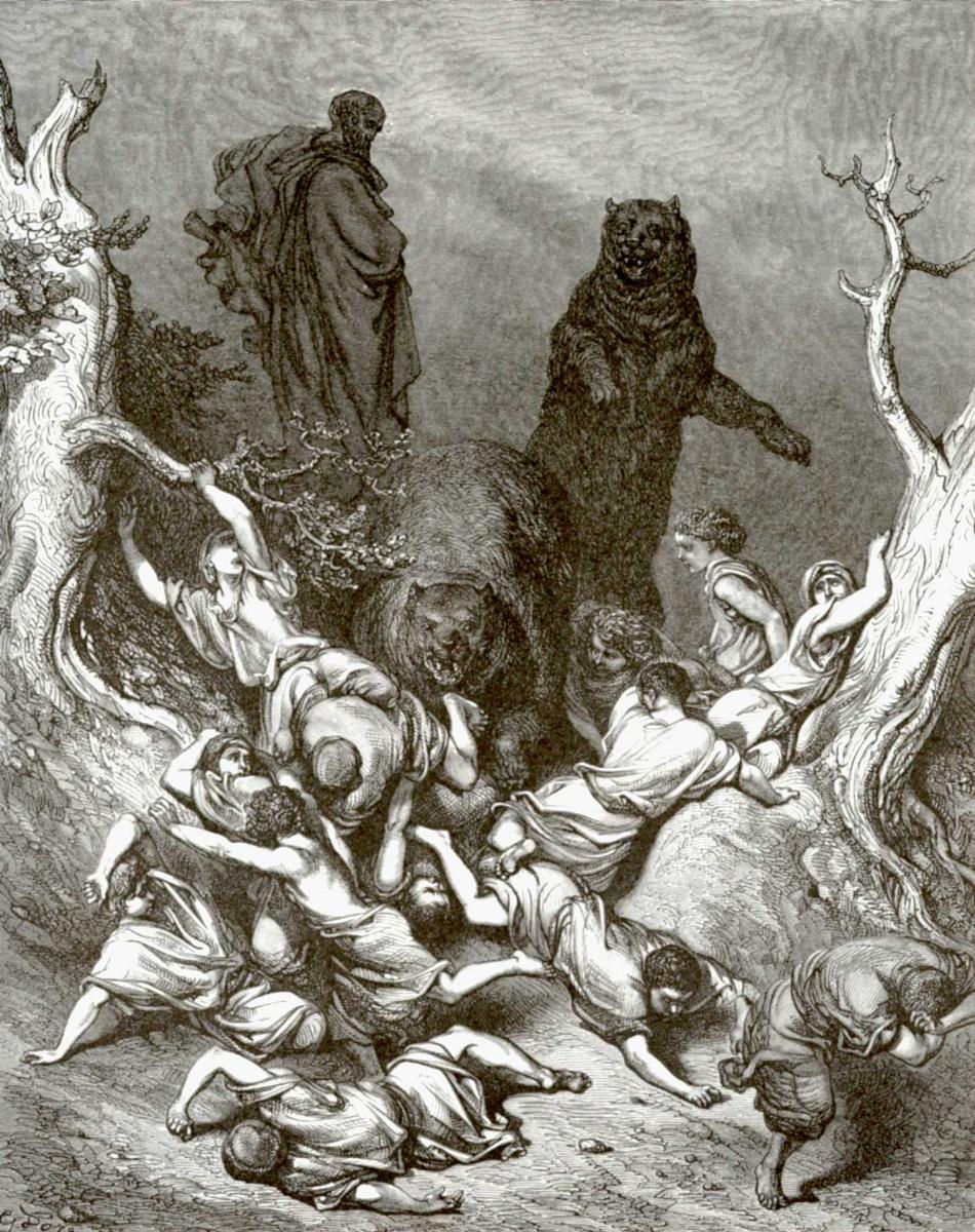 Поль Гюстав Доре. Иллюстрация к Библии: Елисей проклинает насмешников