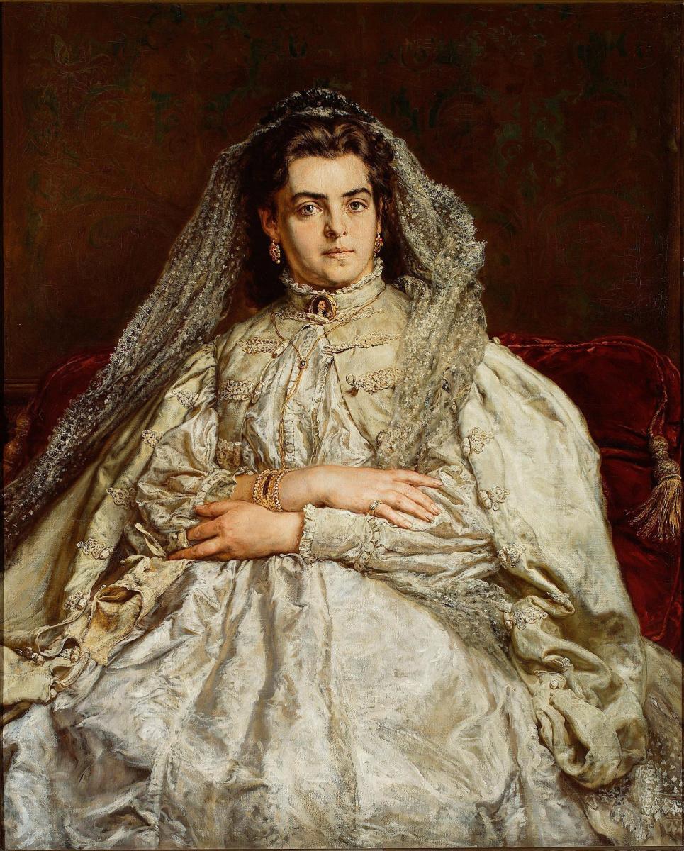 Ян Матейко. Теодора Джибультовска Матейко, жена художника, в свадебном платье