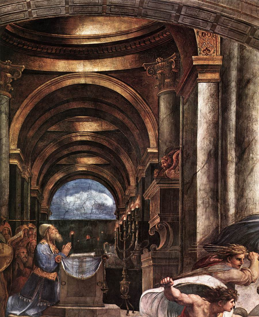 "Рафаэль Санти. Станца д'Элиодоро. Фреска ""Изгнание Элиодора из храма"". Фрагмент"