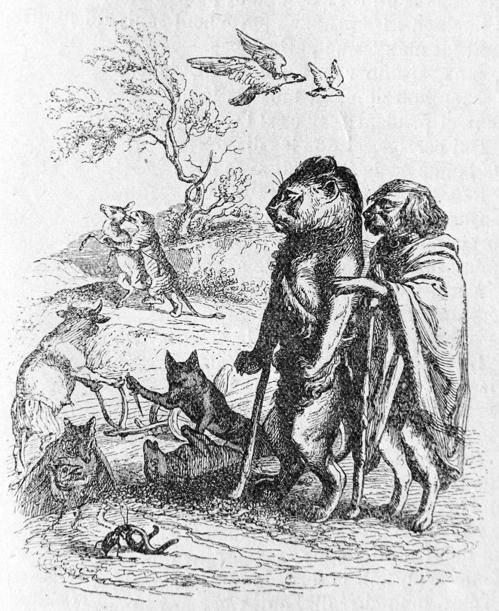 Жан Иньяс Изидор (Жерар) Гранвиль. Воспитание Льва. Иллюстрации к басням Флориана