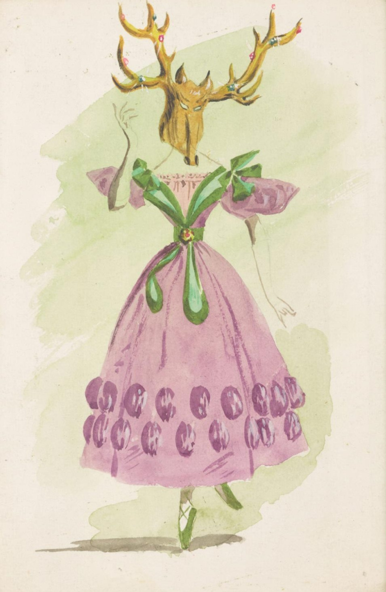 """Dorothea Tunning. Deer. Costume design for the ballet """"Night shadow"""""""