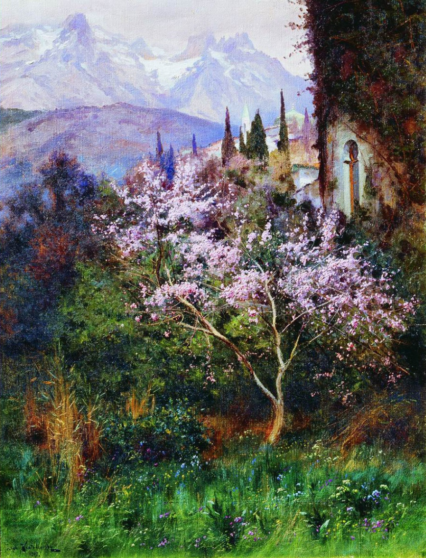 Joseph Evstafievich Krachkovsky. Almonds in bloom. Simferopol Art Museum