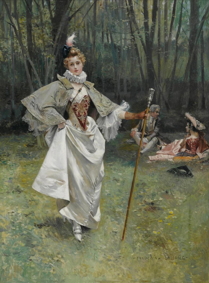 Франсуа Фламенг. Красавица в парке.