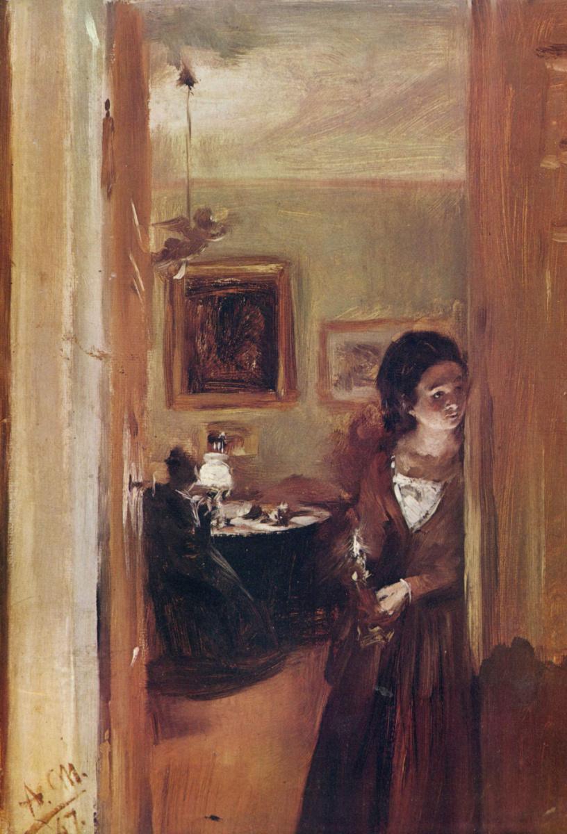 Адольф фон Менцель. Сестра художника в комнате