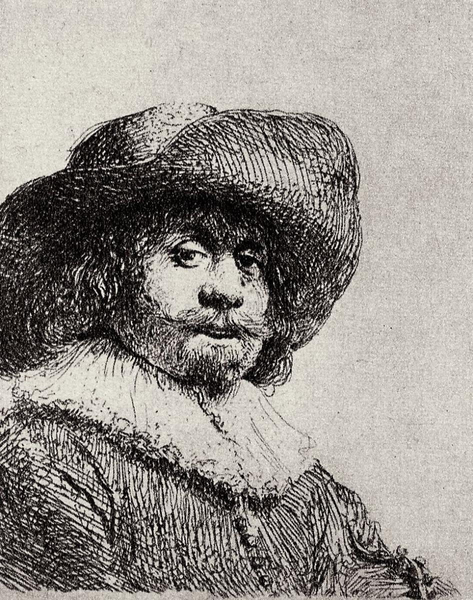 Рембрандт Харменс ван Рейн. Портрет мужчины в широкополой шляпе