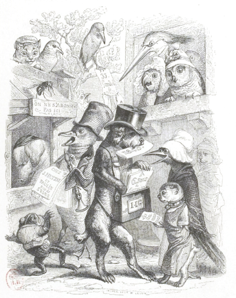 """Jean Inias Isidore (Gerard) Granville. Newspapers. """"Scenes of public and private life of animals"""""""
