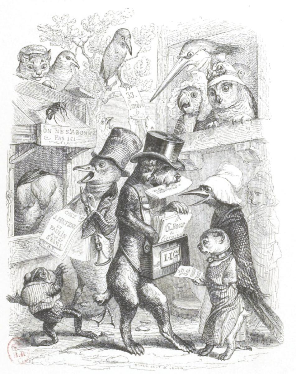 """Жан Иньяс Изидор (Жерар) Гранвиль. Газетчики. """"Сцены общественной и частной жизни животных"""""""