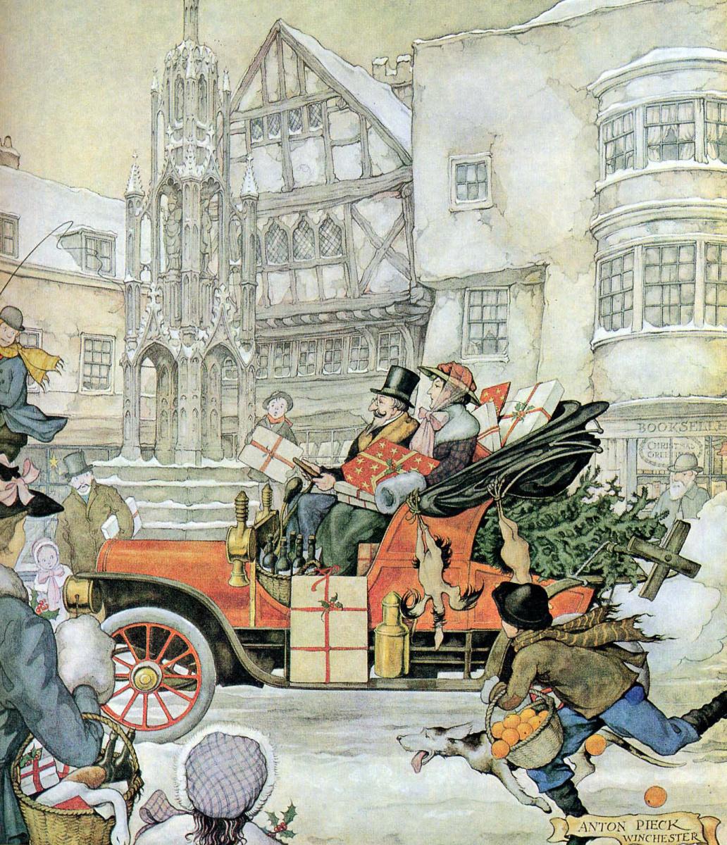 Anton Pieck. City scenes. Before Christmas, Winchester