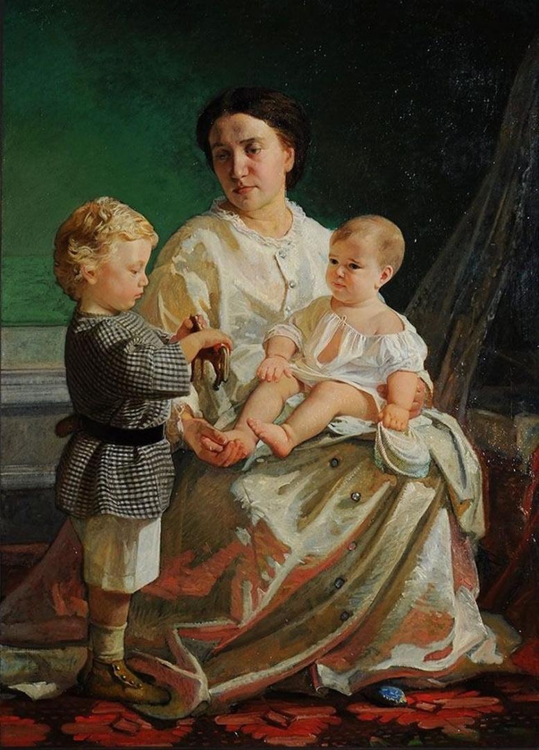Николай Николаевич Ге. Портрет жены художника Анны Петровны с сыновьями Николаем и Петром