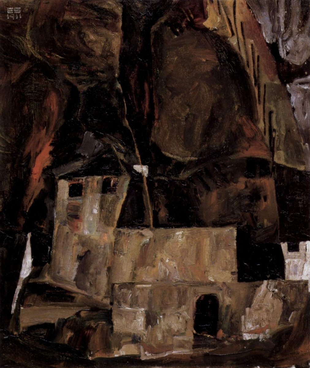 Egon Schiele. House with a wall and a fence in the hills