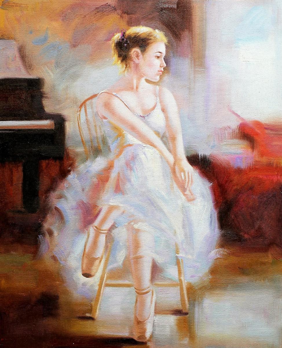 Савелий Камский. Балерина. В минуту отдыха, вольная копия картины Стефана Пена (Stephen Pan)