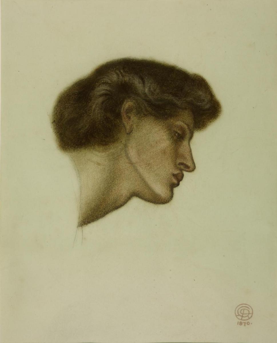 """Данте Габриэль Россетти. Голова женщины. Эскиз для картины """"Сон Данте о смерти Беатриче"""""""