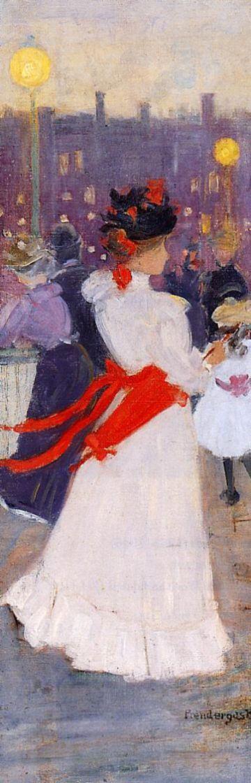 Морис Брэзил Прендергаст. Женщина с красным поясом