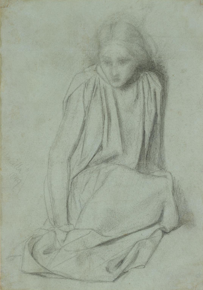 """Данте Габриэль Россетти. Сидящая девушка. Эскиз для картины """"Благовещение"""""""