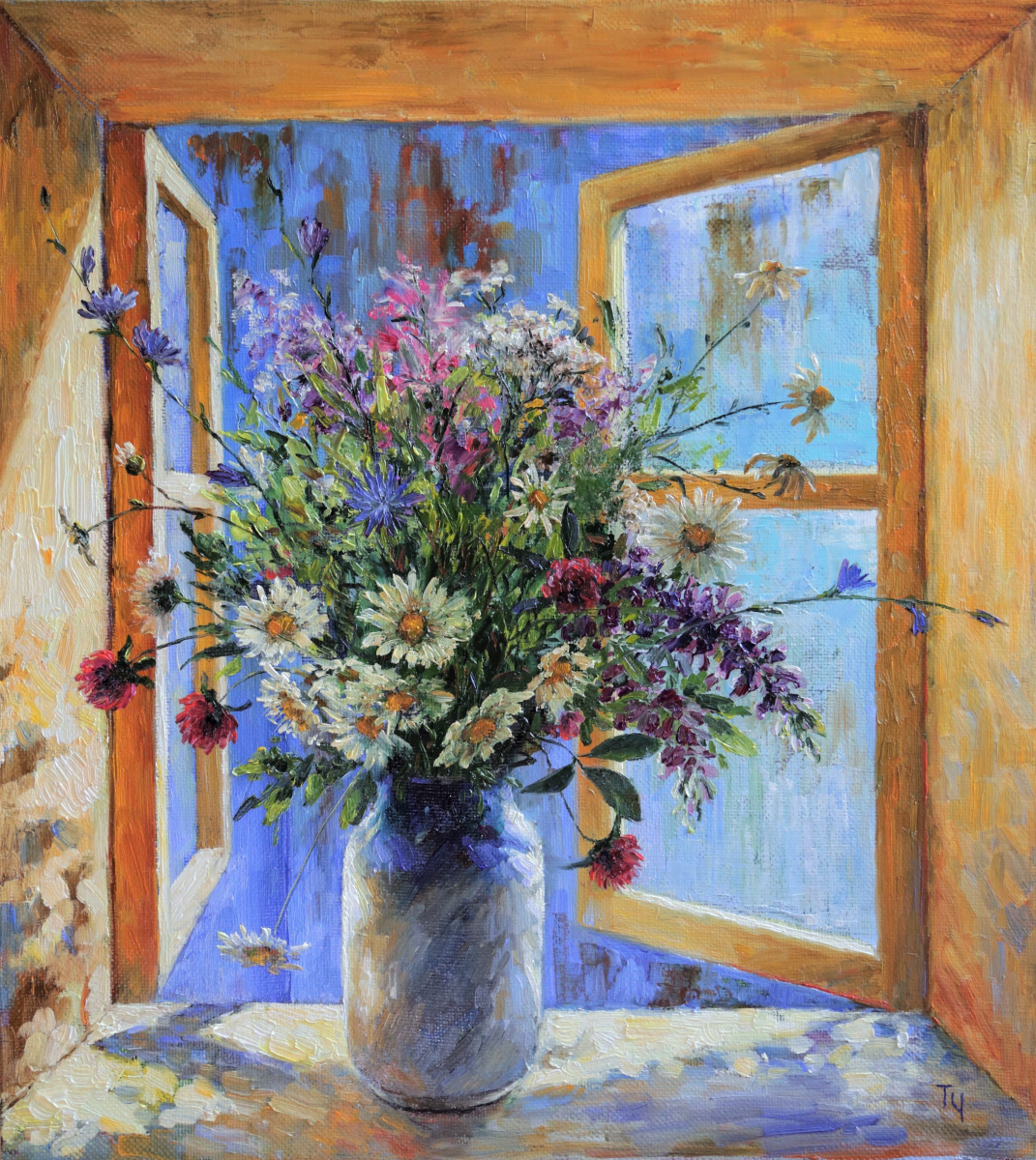 Tatyana Chepkasova. Flowers against a blue roof